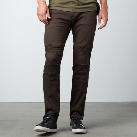 Straight Leg Moto Pant // Olive