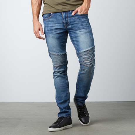 Tapered Leg Faded Moto Jean // Light Blue