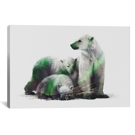 "Aurora Borealis Series // Arctic Polar Bear Family (26""W x 18""H x 0.75""D)"