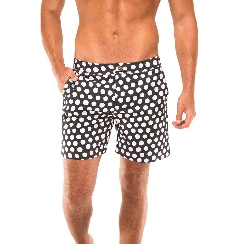 7492bc5b49 Polka Dot Beach To Brunch Swim Shorts // Black + White (36 ...