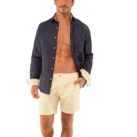 Linen Long Sleeve Shirt // Navy + Lemon