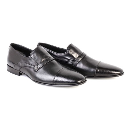 Croc Embossed Leather Captoe Piped Smoking Loafer // Black