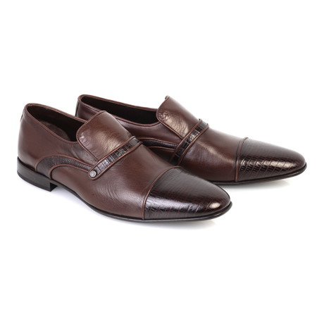 Croc Embossed Leather Captoe Piped Smoking Loafer // Brown