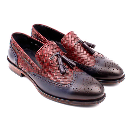 Woven Leather Perforated Wingtip Tassel Loafer // Navy Blue