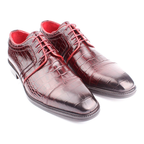 Croc Embossed Leather Captoe Piped Derby // Claret Red