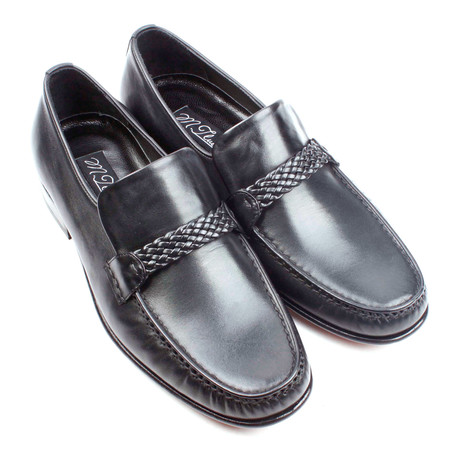 Braided Band Leather Loafer // Black