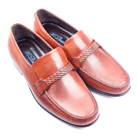 Braided Band Leather Loafer // Tobacco