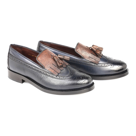 Embossed Leather Perforated Wingtip Tassel Loafer // Navy Blue