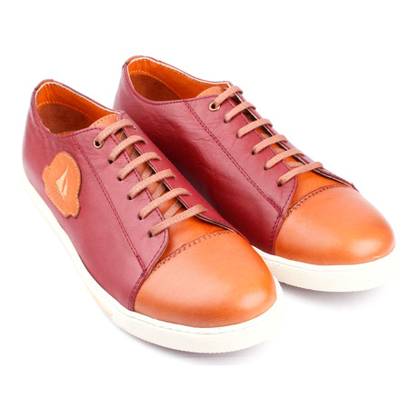 Leather Colorblocked Lace-Up Sneaker // Claret Red + Orange