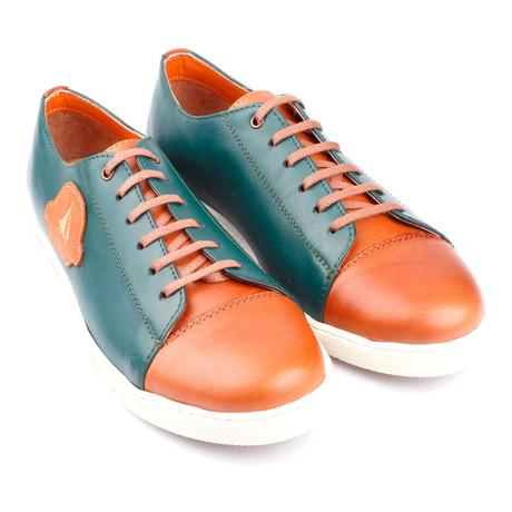 Leather Colorblocked Lace-Up Sneaker // Green + Orange