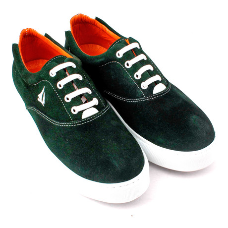 Suede Lace-Up Sneaker // Green