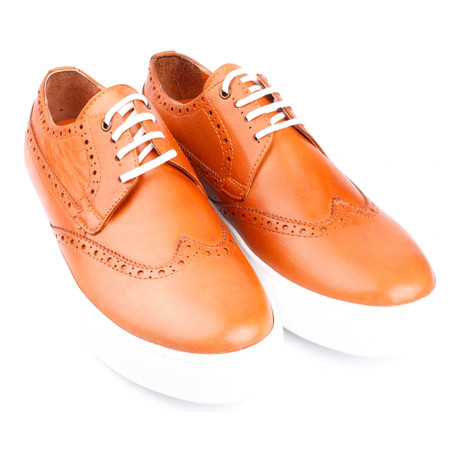 Leather Perforated Wingtip Lace-Up Sneaker // Orange