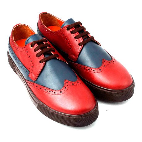 Leather Perforated Wingtip Lace-Up Sneaker // Claret Red + Blue + Brown