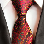 Sanford Tie // Red + Gold Paisley
