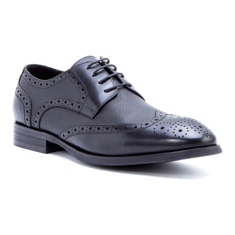 Rossini Medallion Wing-Tip Derby // Black (US: 8)