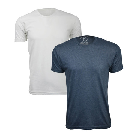 Tri-Blend Crewneck T-Shirt // Heather Navy + Heather White // Pack of 2