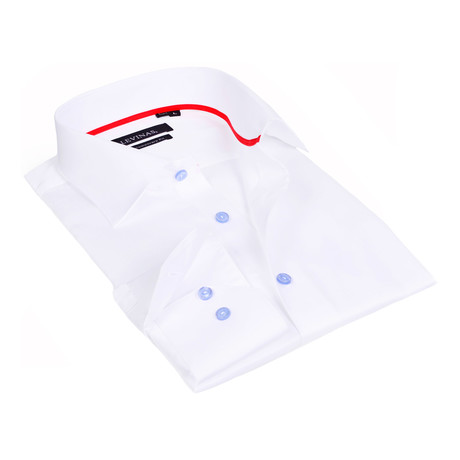 Contrast Buttons Button-Up Shirt // White (S)