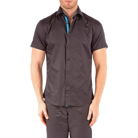 Dot Placket Short-Sleeve Button-Up Shirt // Black