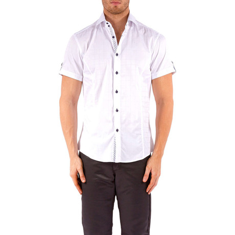 Windowpane Short-Sleeve Button-Up Shirt // White