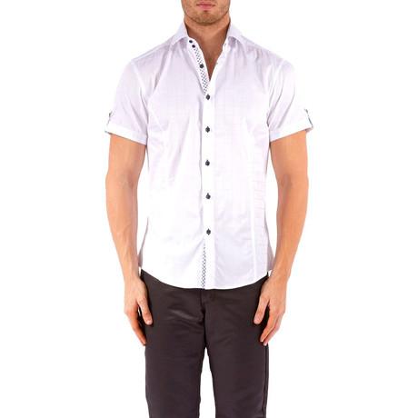 Windowpane Short-Sleeve Button-Up Shirt // White