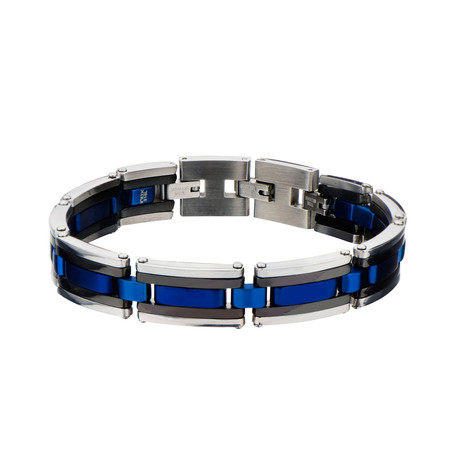 Stainless Steel Linear Link Bracelet // Blue + Black