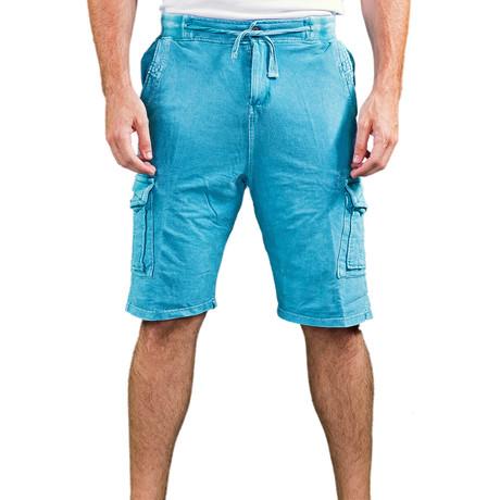 Stonewash Drawstring Cargo Shorts // Turquoise