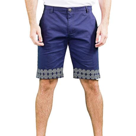 Flat Front Printed Trim Shorts // Navy