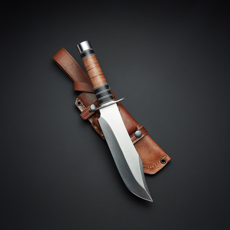 D2 Tactical Clip Point Leather Bowie