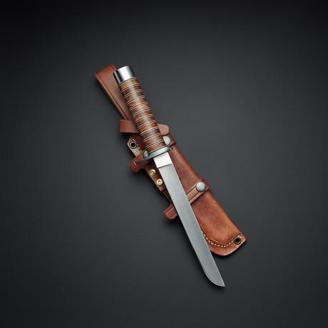 D2 Walnut Convex Flat Grind Combat Knife