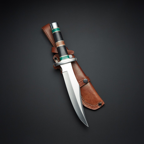 D2 Clip Point Malachite Stone Combat Bowie