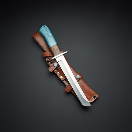 D2 Blue Bone Rosewood Taketo Tanto Knife