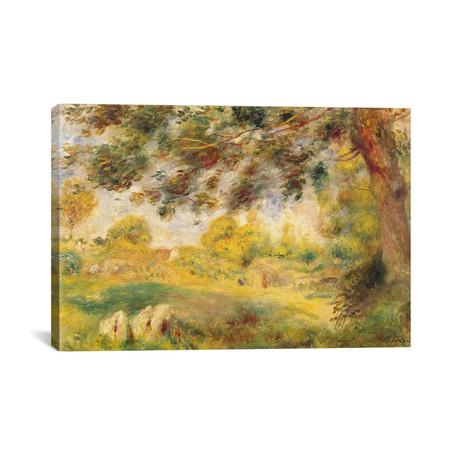 """Spring Landscape // Pierre-Auguste Renoir // c. 1869 (26""""W x 18""""H x 0.75""""D)"""