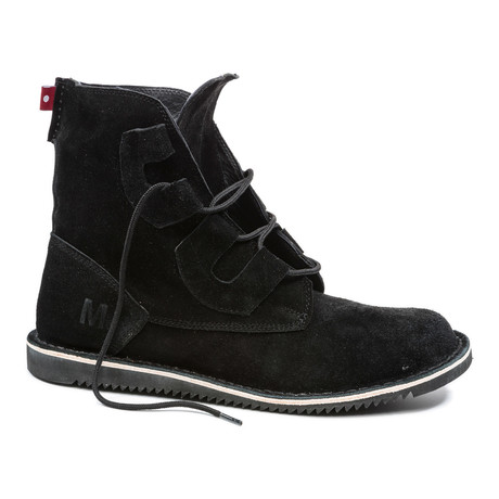 Mojoo Suede Lace-Up Boot // Black