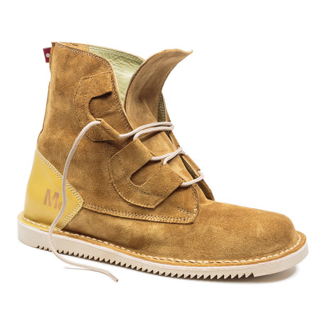 Mojoo Suede Lace-Up Boot // Tan + Yellow