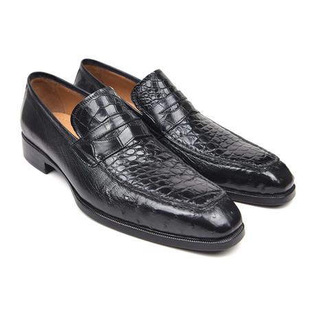 Genuine Crocodile + Ostrich Penny Loafers // Black (Euro: 38)