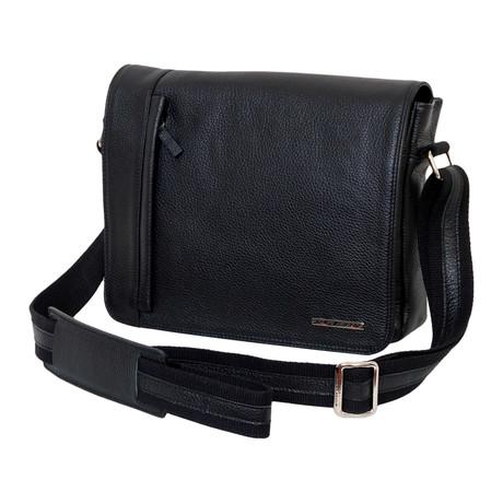 BU001 Cervo Leather Messenger // Black