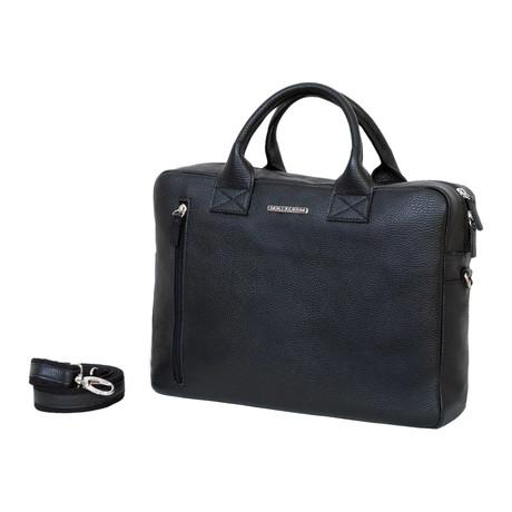 L001 Cervo Leather Briefcase // Black