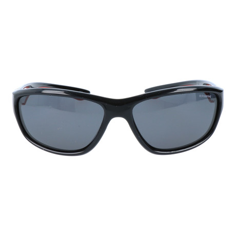 Wrap-Around Triangular Sport Sunglasses // Black + Red