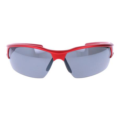 Cut-Away Frame Triangular Wrap-Around Sport Sunglasses // Red + Grey