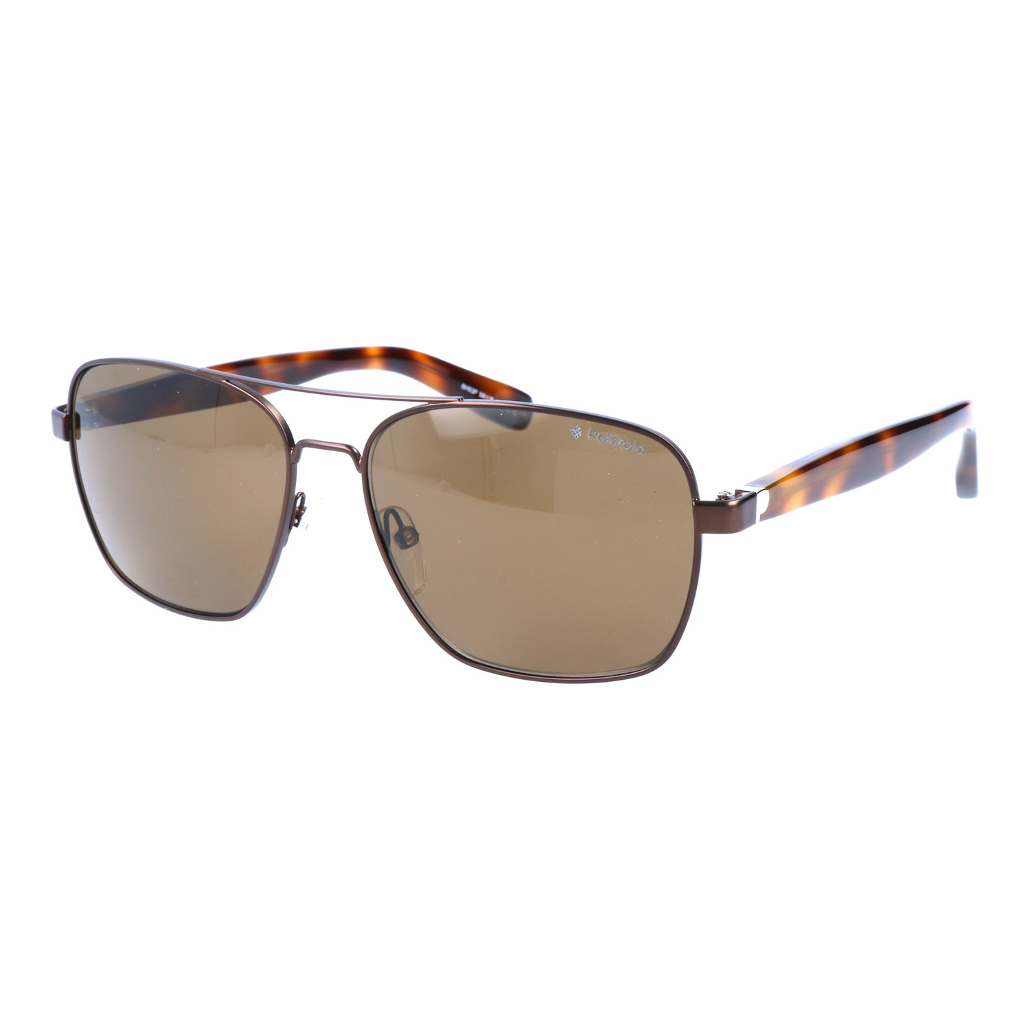 40b07d7135fd Thick Temple Square Aviator    Tortoise + Brown - Polaroid ...
