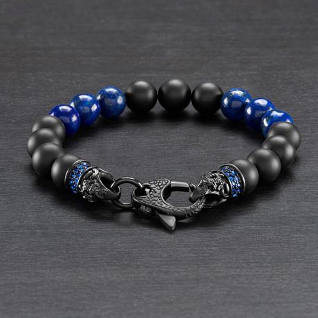Beaded Bracelet // Black Matte Onyx + Lapis Lazuli