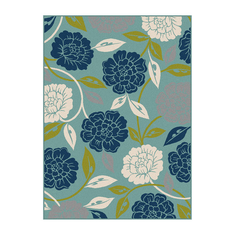 Garden City Peony Transitional Rug // Aqua