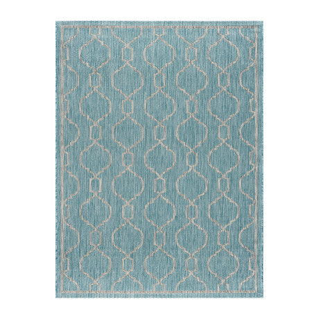 Veranda Villa Transitional Rug // Aqua