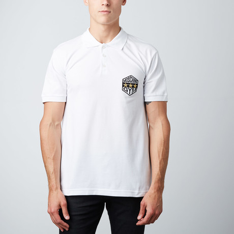 3-Star Patch Polo // White!