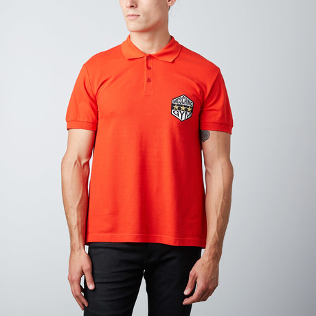 3-Star Patch Polo // Red