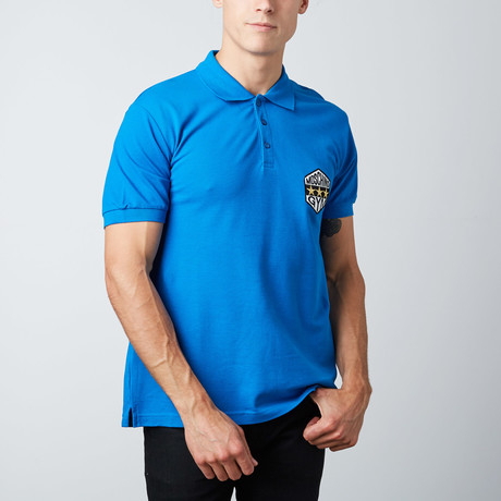 3-Star Patch Polo // Blue