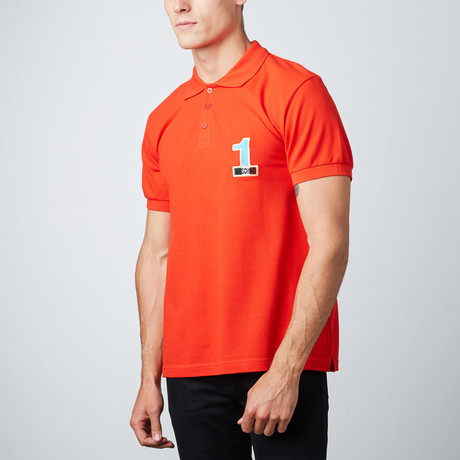 "Moschino // ""1"" Patch Polo // Red (XS)"