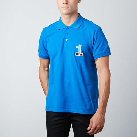 """1"" Patch Polo // Blue (XS)"