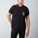 """1"" Patch Polo // Black (XS)"