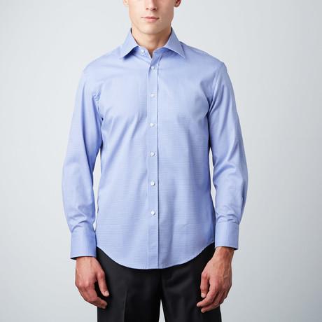 Microcheck Slim Fit Button-Up Shirt // Blue